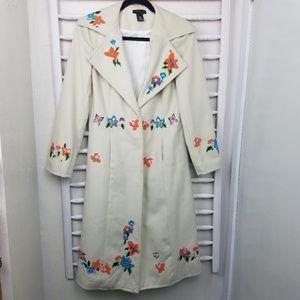 BCBGMaxAzria White Embroidered Long Coat 4